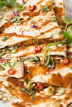 Thai Peanut Chicken Quesadillas | Thai chicken gets a fusion twist in these Thai peanut chicken quesadillas! Loaded with flavor and fun to make, try them tonight! | thechunkychef.com