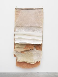 Alison Knowles - Pagina Lenticchia, 1995  branch, cotton, flax, lentils, acrylic stamp, and unbleached flax  89 x 43 x 2.5 inches