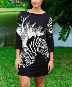 Another great find on #zulily! White & Black Zebra Three-Quarter Sleeve Dress #zulilyfinds