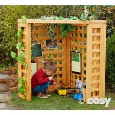 Trellis Corner Den, maybe for corner of grass before path on left? Outdoor Learning Spaces, Kids Outdoor Play, Outdoor Play Areas, Backyard Play, Outdoor Playground, Backyard For Kids, Outdoor Fun, Childrens Play Area Garden, Toddler Playground