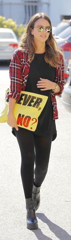 Red plaid shirt and yellow print clutch handbag ...............................