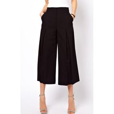 Stylish Wide-leg Black Cropped Pants For WomenPants | RoseGal.com