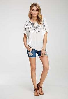 Floral-Embroidered Peasant Top | LOVE21 - 2049258606
