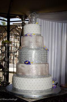 Wedding Cake, Silver Bling Cake, Purple Calla Lilies, Bling Topper
