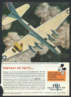 "Original Good Housekeeping Mickey Mouse ad for Adel Products, World War II, Walt Disney, ""buy bonds"" 1943 - Kids 133"