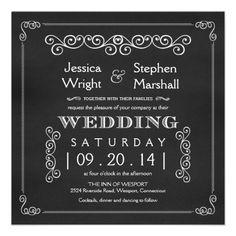 Chalkboard Fancy Square Wedding Invitations.  $2.05