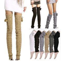 Fashoin Elegant Soft Knit Thick Leg Warmer Long over Knee High Hosiery Stocking Sock: Clothing Knit Leg Warmers, Stockings Legs, Warm Boots, Thigh High Socks, Stocking Tights, Boot Socks, Hosiery, Lana, Korean Fashion