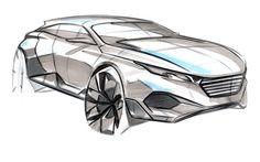 Peugeot QUARTZ futuristic SUV concept sketch by Michael Han