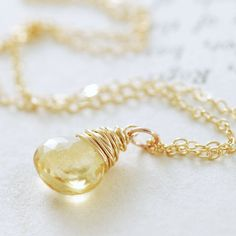 Citrine Necklace Wrapped in 14k Gold Fill November by aubepine, $38.00