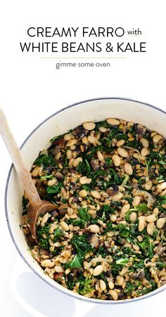 Gimme Some Oven Creamy Farro with White Beans and Kale Farro Recipes, Diet Recipes, Vegetarian Recipes, Cooking Recipes, Healthy Recipes, Recipies, Vegetarian Barbecue, Vegetarian Dinners, Barbecue Recipes