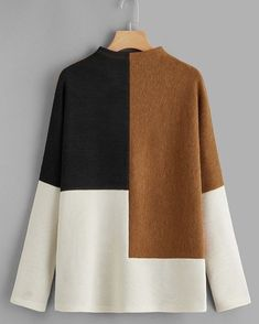 SHEIN offers Color-block Rib-knit Tee & more to fit your fashionable needs. Mode Abaya, Mode Hijab, Sewing Clothes, Diy Clothes, Hijab Fashion, Fashion Dresses, Handgestrickte Pullover, Mode Top, Fashion Sewing