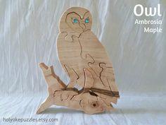 Owl jigsaw puzzle in maple with Swarovski от HolyokePuzzles