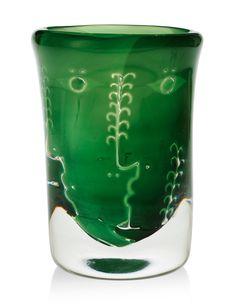 """** Ingeborg Lundin, (Swedish, 1921-1992), Orrefors, """"Ansikten"""" Ariel Glass Vase."""