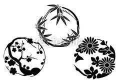 【インテリアシール】和紋三選 菊・梅・竹 ウォールステッカー 送料無料 Japanese Art, Flower Art, Illustration Art, Japanese Design, Simple Flower Drawing, Art, China Patterns, Prints, Pattern Art