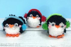 Pom Pom Penguin DIY Ornaments - Red Ted Art - Make crafting with kids easy & fun Penguin Ornaments, Penguin Craft, Diy Ornaments, Christmas Ornaments, Christmas Tree, Christmas Pom Pom Crafts, Diy Christmas Presents, Christmas Crafts For Kids, Diy Crafts For Kids