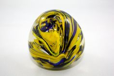 25% Off SHOP SALE, Large Vintage Swirly Blue & Yellow Paperweight. Glass Egg. Crystal. Statement. on Etsy, $25.00