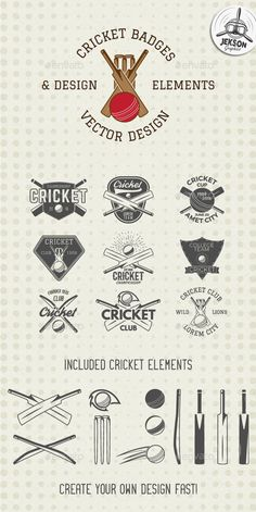 Set of Cricket team emblem design elements. Cricket championship label designs. Cricket club badges. Sports symbols with cricket g