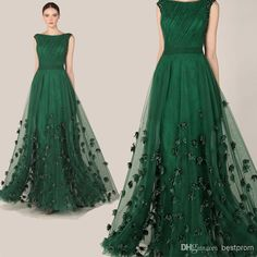 Wholesale 2014 Formal Evening Dress - Buy Fashionable Elegant Zuhair Murad Dress Emerald Green Tulle Long A-Line Cap Sleeve Flowers Evening Dress Prom Red Carpet Gown 2014, $127.54 | DHgate.com