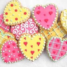 Heart Cookies....the pink and yellow together are so festive....