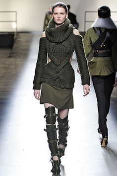 Loving all my favorite details in one put together outfit. Cable Sweater texture cowl neck, and the boots!:: PRABAL GURUNG ::