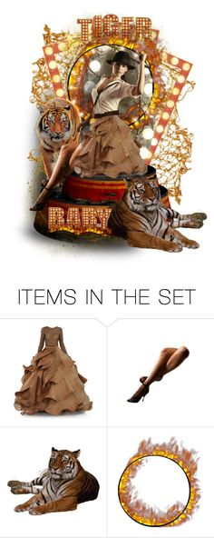 """O tiger's heart wrapped in a woman's hide! -William Shakespeare"" by theeverywheregirl ❤ liked on Polyvore featuring art, doll, orange, Fire, tiger and circus"