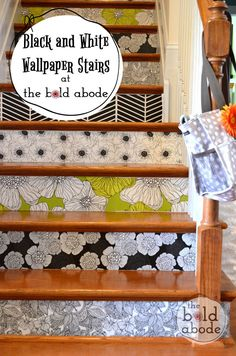 Wallpaper your stairs for a fun and unique look!  This has to be easier than stenciling them.