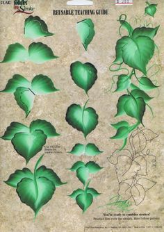 Reusable Painting Guide Learn Wild Ivy Brush Strokes Plaid Folk Art How To Painting & Drawing, One Stroke Painting, Painting Lessons, Tole Painting, Painting Techniques, Art Lessons, Donna Dewberry Painting, Pintura Country, China Painting