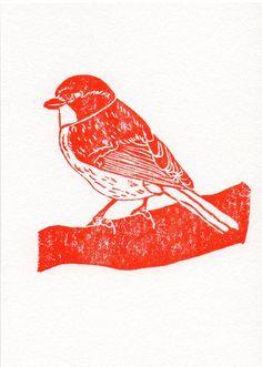 Linogravure orange oiseau sur une branche sur bois Printmaking Art impression 5 X 7