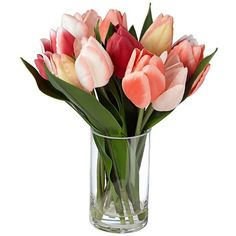 Tulip Flowers in Clear Glass Vase (43 CAD) ❤ liked on Polyvore featuring home, home decor, floral decor, flowers, fillers, plants, backgrounds, phrase, home accessories and quotes