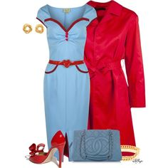 """""""Pastel Blue and Red Contest"""" by kginger on Polyvore"""
