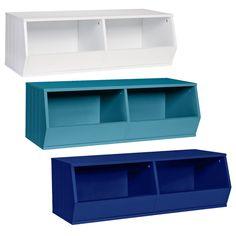 RiverRidge Double Bin Storage Stacker Versatile Stackable Cubby Bins Cubbies Closet