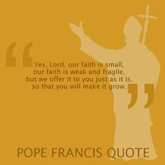 """Yes, Lord, our faith is small, our faith is weak and fragile, but we offer to you just as it is so that you will make it grow.""  - Pope Francis"