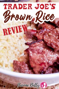 Trader Joe's Brown Rice, quick, easy, fast rice ready in 3 minutes that has good taste and texture. No pots and pans necessary, just a microwave and a packet from Trader Joe's Brown Rice box. Easy side dish for nearly any meal! Find out why you should add TJ's Brown rice to your shopping list! | Become Betty @becomebetty #traderjoesbrownrice #traderjoessidedish #traderjoesrice #traderjoesshopping #traderjoesmusttry #traderjoeshonestreviews #traderjoesshoppinglist #becomebetty Healthy Pork Recipes, Pork Recipes For Dinner, Mexican Dinner Recipes, Easy Asian Recipes, Easy Chicken Recipes, Trader Joes Vegan, Trader Joe's, Joe's Seafood