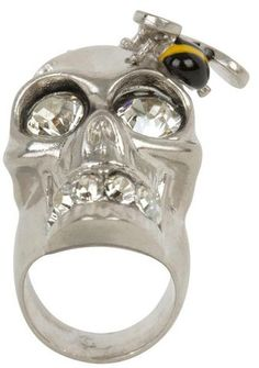 88006e4f1a8d Crystal Bee and Skull Cocktail Ring - Lyst Alexander Mcqueen Ring