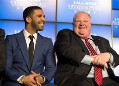 Canadian recording artist Drake, left, and Toronto Mayor Rob Ford laugh at a news conference announcing that Toronto will host the 2016 NBA ...