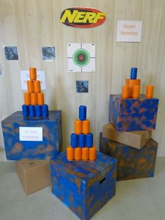 Nerf & Targets Party : DIY Targets : Great ideas using cardboard boxes, cans, and printed targets. Easy to DIY and cost effective!