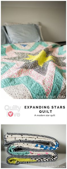 Expanding stars quilt pattern by emily of quiltylove.com.  Easy star quilt in baby and throw sizing.  Modern Star quilt.