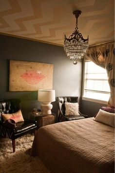 not my personal style of room - but like the wall color (Bedroom walls- custom blue - via apt therapy)