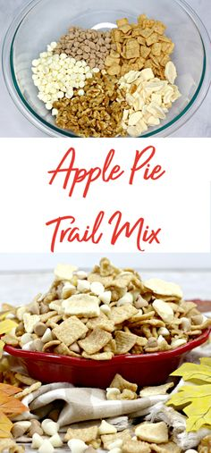 With just 5 ingredients this apple pie trail mix is supper easy to toss together. Your family and friends will be asking you for the recipe. rezepte selber machen mix mix bar mix bar wedding mix recipes mix recipes for kids Fall Trail Mix Recipe, Trail Mix Recipes, Nut Recipes, Real Food Recipes, Snack Recipes, Camping Recipes, Best Road Trip Snacks, Road Trip Food, Diy