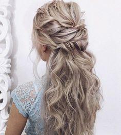 Wedding Hairstyles Half Up Half Down, Wedding Hairstyles For Long Hair, Loose Hairstyles, Bride Hairstyles, Trendy Hairstyles, Gorgeous Hairstyles, Modern Haircuts, Natural Hairstyles, Messy Wedding Hair
