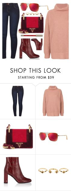"""""""Forward"""" by smartbuyglasses ❤ liked on Polyvore featuring Dorothy Perkins, Barena, Prada, Ray-Ban, Yves Saint Laurent, House of Harlow 1960, John Lewis, Pink, burgundy and chunkyknits"""