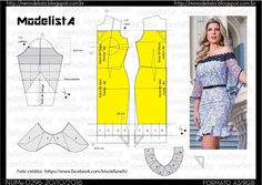 Fashion Sewing, Fashion Fabric, Diy Fashion, Blouse Patterns, Clothing Patterns, Costura Fashion, Pattern Draping, Modelista, Make Your Own Clothes