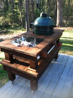This table, a recent commission from a new client in Peachtree City is a 58'x30″ table, designed and constructed for a medium Big Green Egg. For this particular owner, it is a first t…