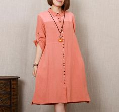 Women Plus size Long Sleeve Cotton Linen Shirt Dress