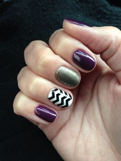 Christy C's @sasssycc nails @aprilsnailz | CND Shellac Rock Royalty + Chevron + Steel Gaze. Shellac nail art. Shellac nail designs. Gel nails. Dark nails. **Leave the credits and details as these are someone's nails!**