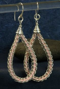 viking knit jewelry | Sterling Silver Viking Knit Teardrop Earrings With Pink Leather Inside