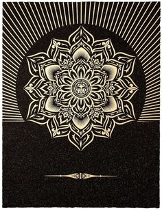 SHEPARD FAIREY - OBEY LOTUS DIAMOND (BLACK/GOLD) - GREGG SHIENBAUM FINE ART MIAMI http://www.widewalls.ch/artwork/shepard-fairey/obey-lotus-diamond-blackgold/