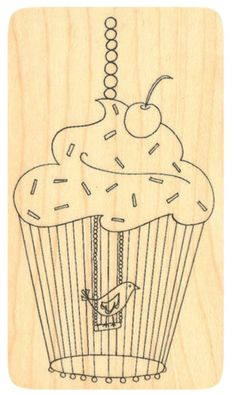 """{Single Count} Unique & Custom (2"""" by 3 1/2"""" Inches) """"Cupcake Birdcage & Cherry On Top"""" Rectangle Shaped Genuine Wood Mounted Rubber Inking Stamp"""