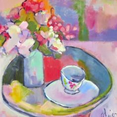 "Daily Painters Abstract Gallery: Contemporary Abstract Still Life Art Painting ""First Day of Spring"" by Santa Fe Artist Annie O'Brien Gonzales"