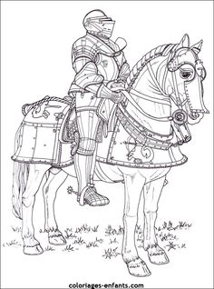 Knight in armor on a horse color page fantasy medieval